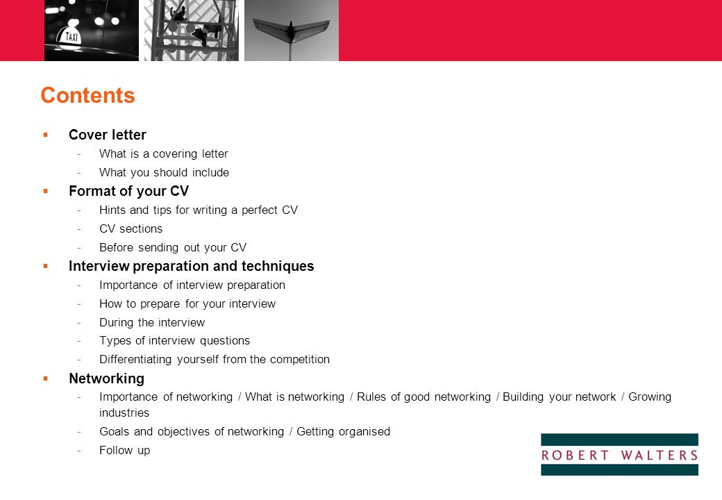Contents Cover letter Format of your CV