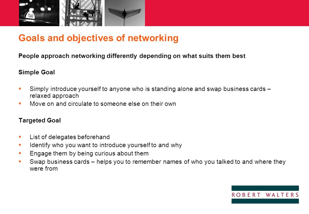 Goals and objectives of networking