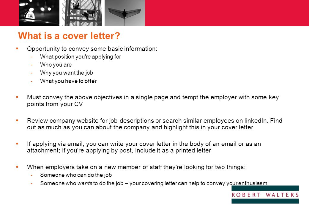 Robert walters specialist professional recruitment ppt for Cover letter looking for new opportunities