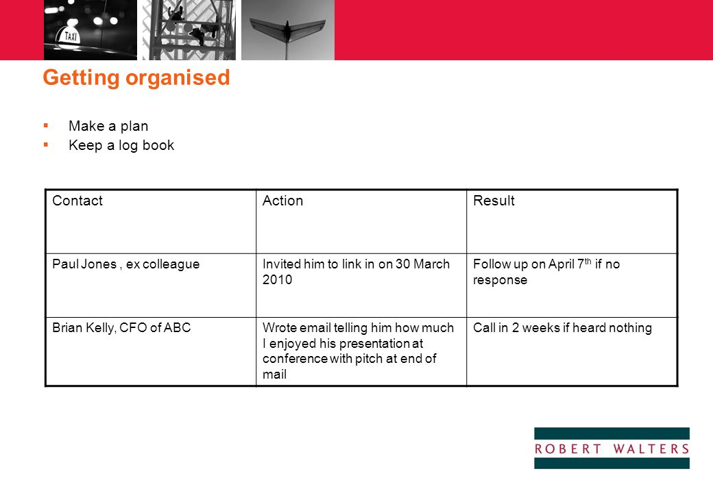 Getting organised Make a plan Keep a log book Contact Action Result