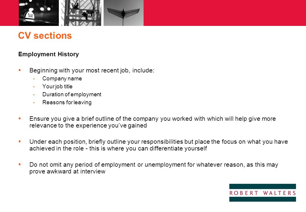 CV sections Employment History