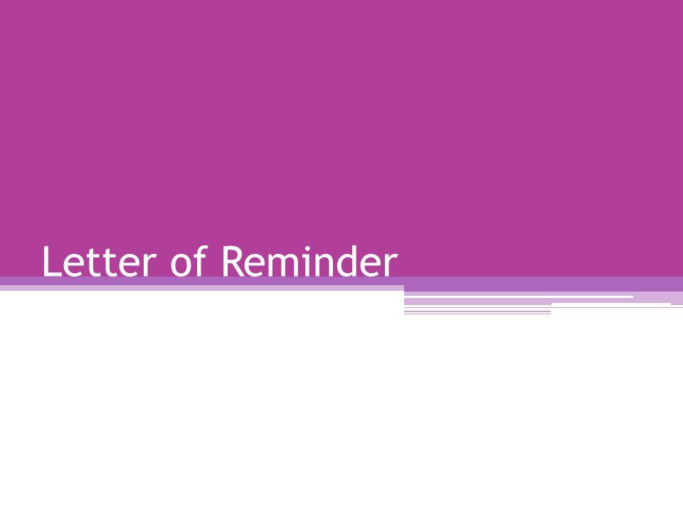 Letter of Reminder
