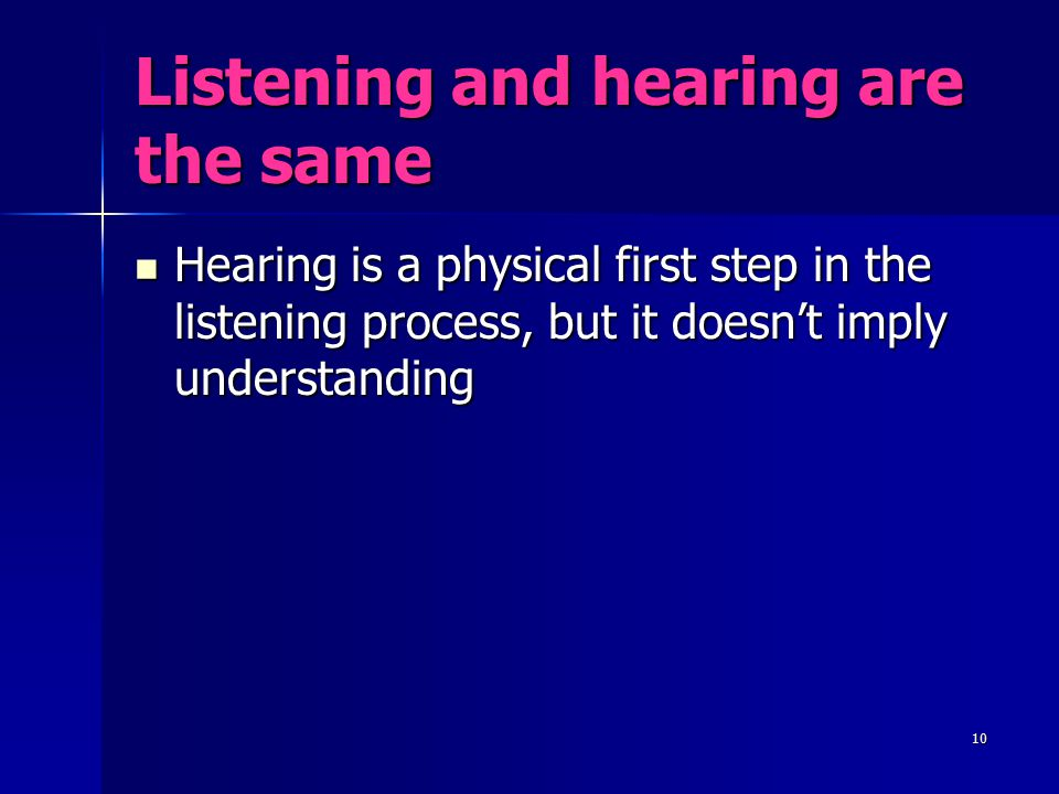 Listening and hearing are the same