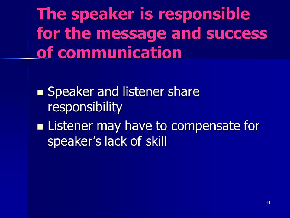 The speaker is responsible for the message and success of communication