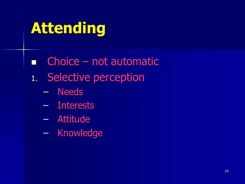 Attending Choice – not automatic Selective perception Needs Interests