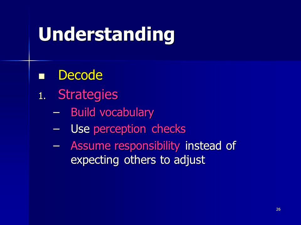Understanding Decode Strategies Build vocabulary Use perception checks