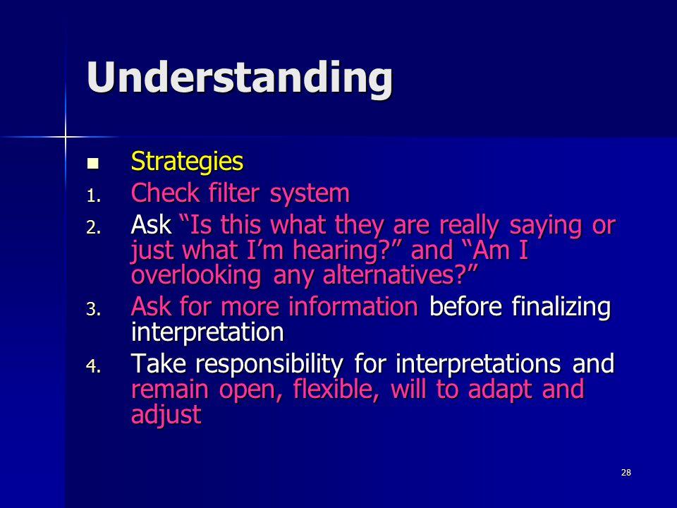 Understanding Strategies Check filter system