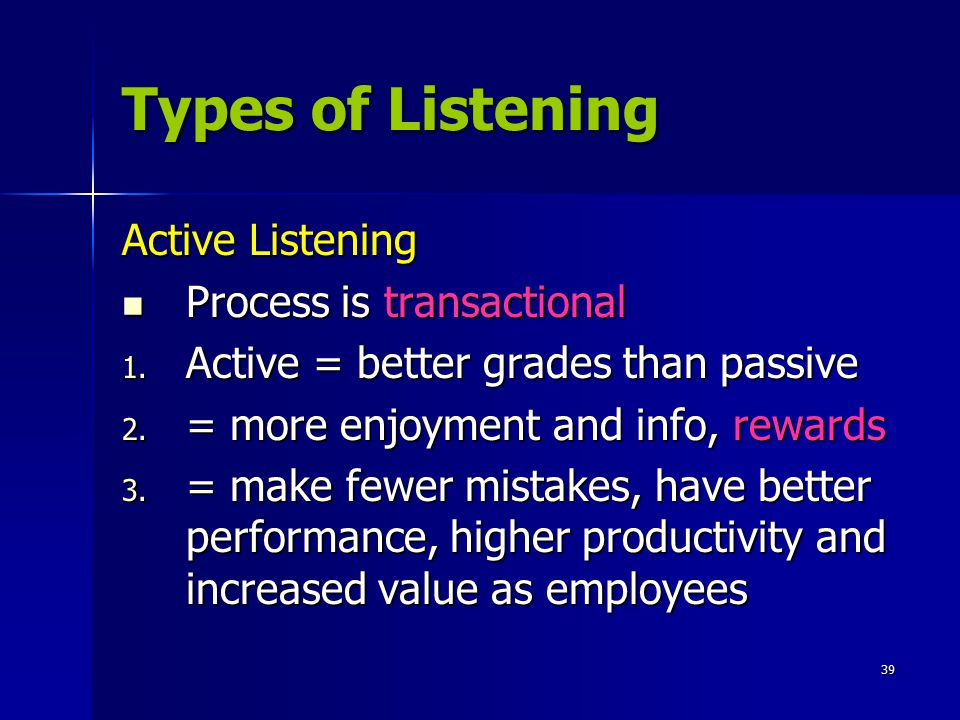 Types of Listening Active Listening Process is transactional