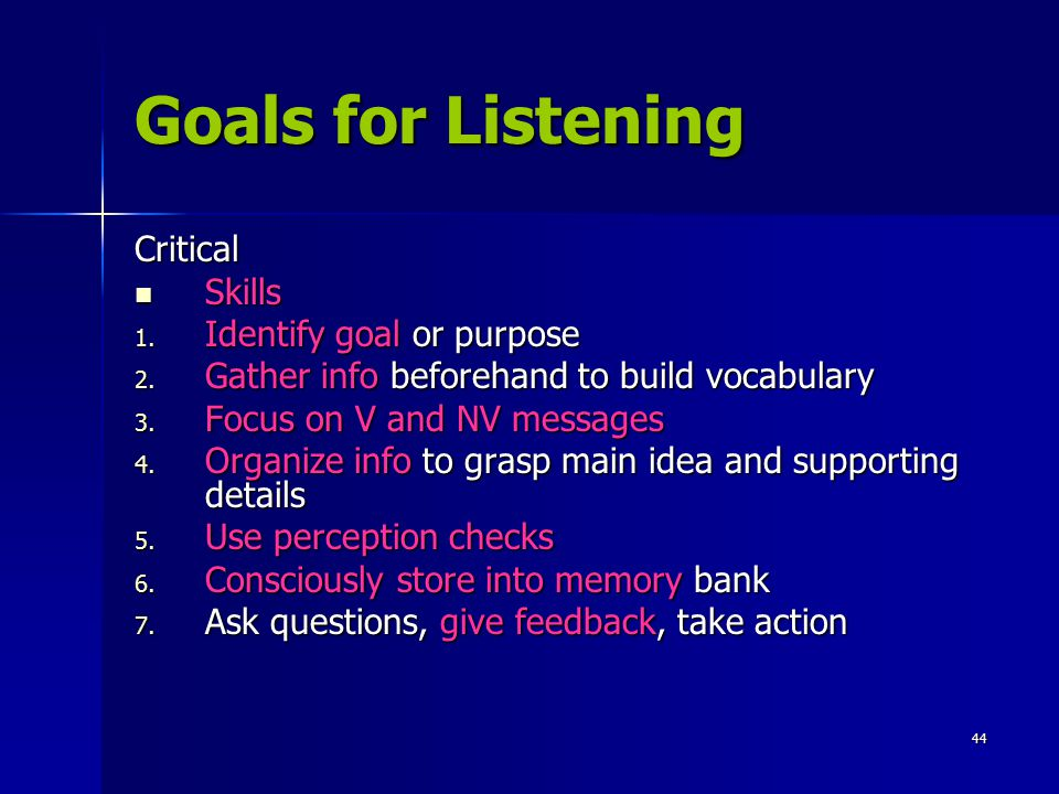 Goals for Listening Critical Skills Identify goal or purpose