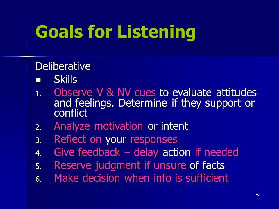 Goals for Listening Deliberative Skills