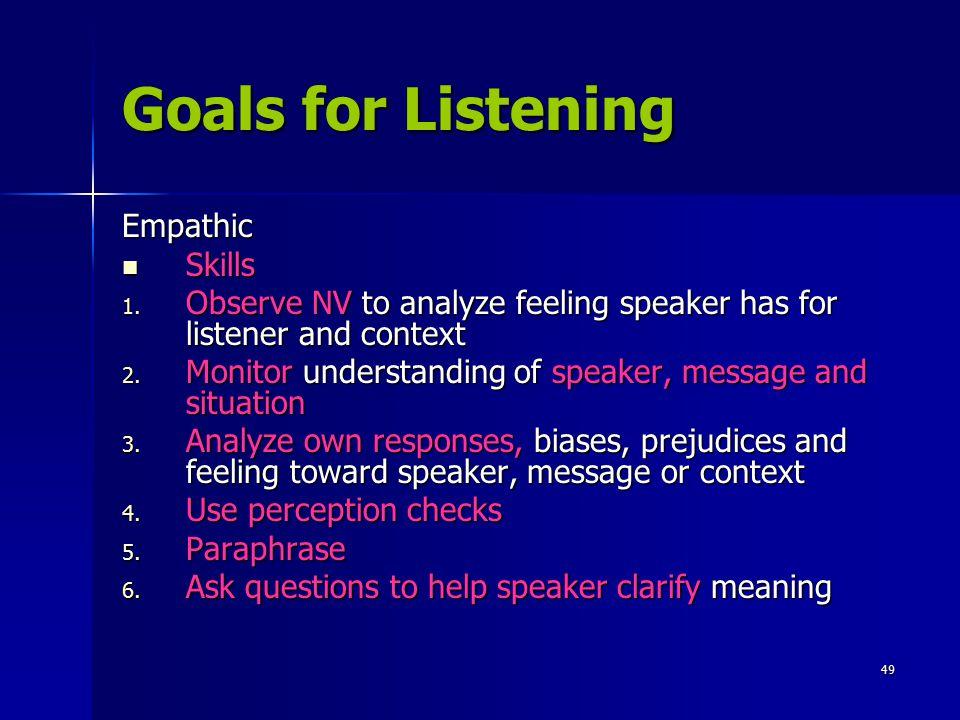 Goals for Listening Empathic Skills