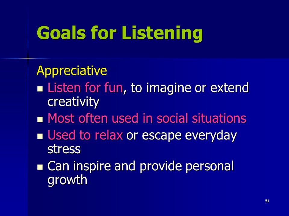 Goals for Listening Appreciative