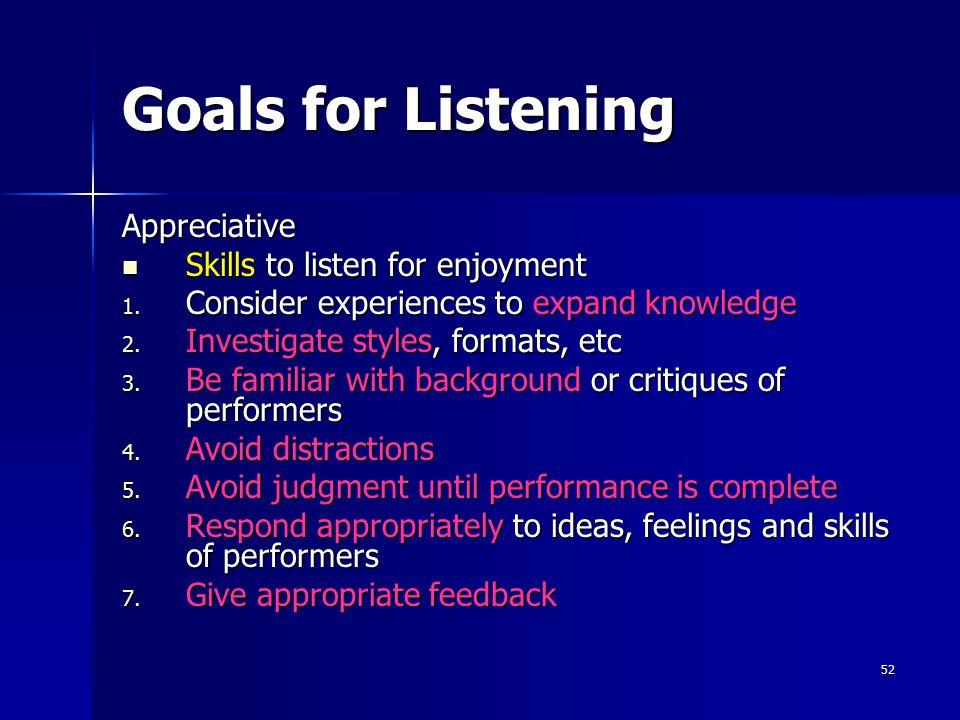 Goals for Listening Appreciative Skills to listen for enjoyment