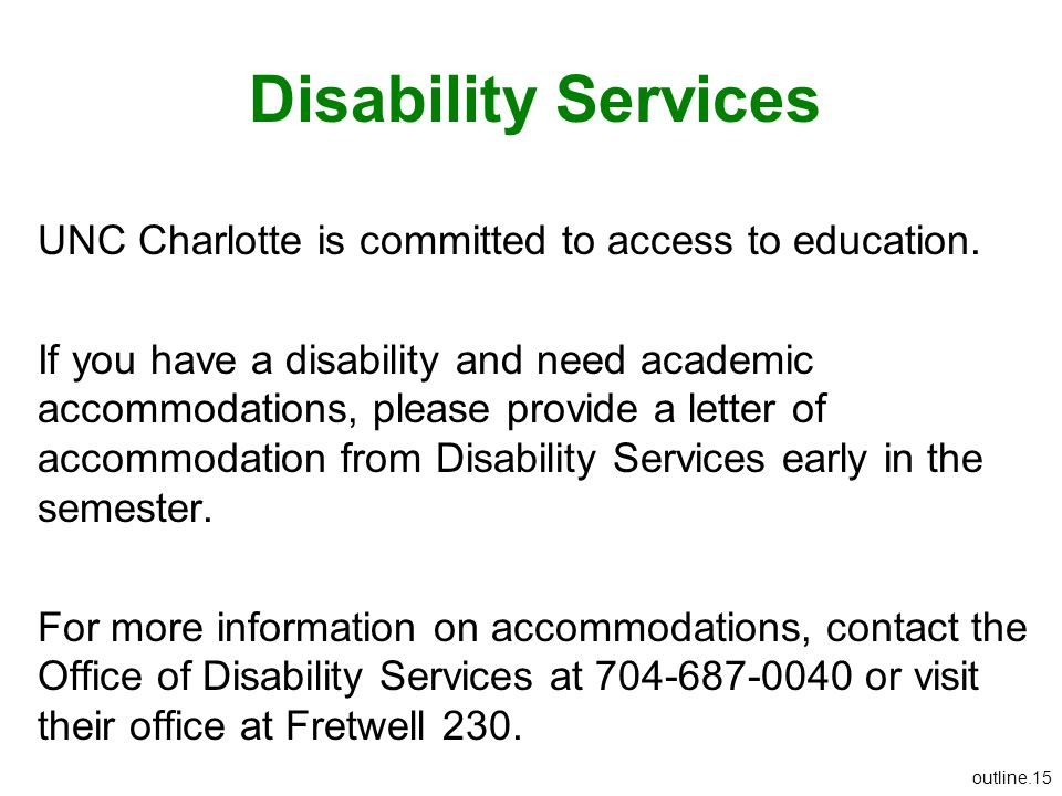 Disability Services UNC Charlotte is committed to access to education.