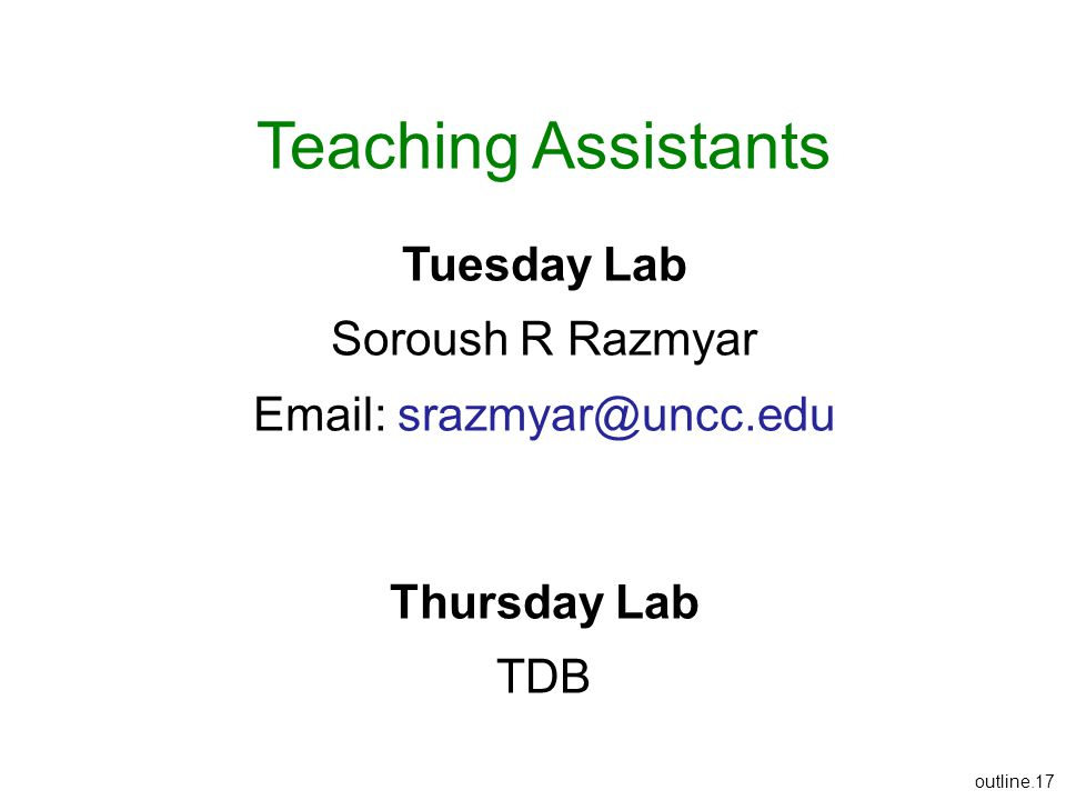 Teaching Assistants Tuesday Lab Soroush R Razmyar