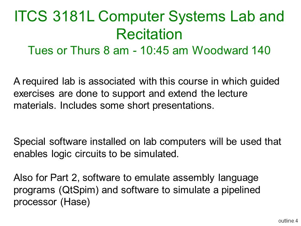 ITCS 3181L Computer Systems Lab and Recitation