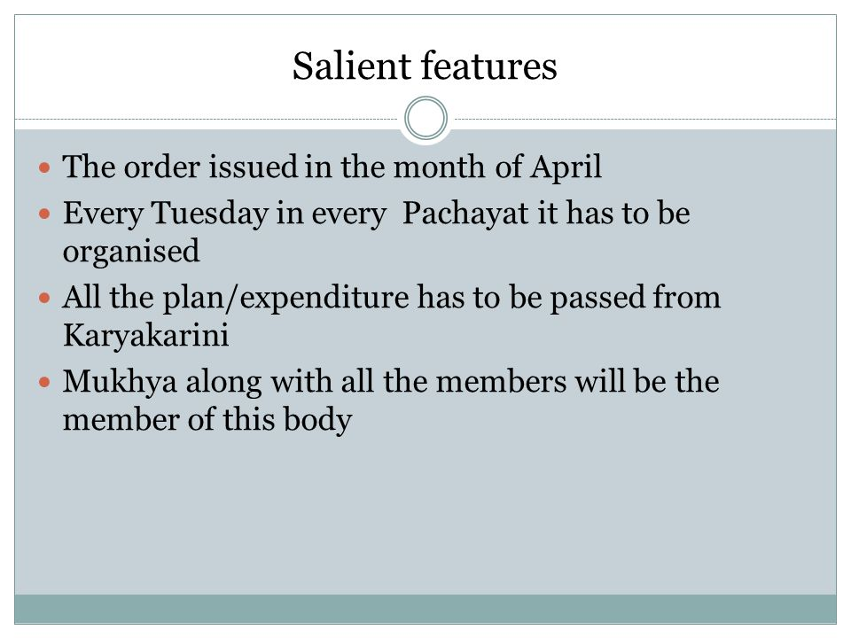 Salient features The order issued in the month of April