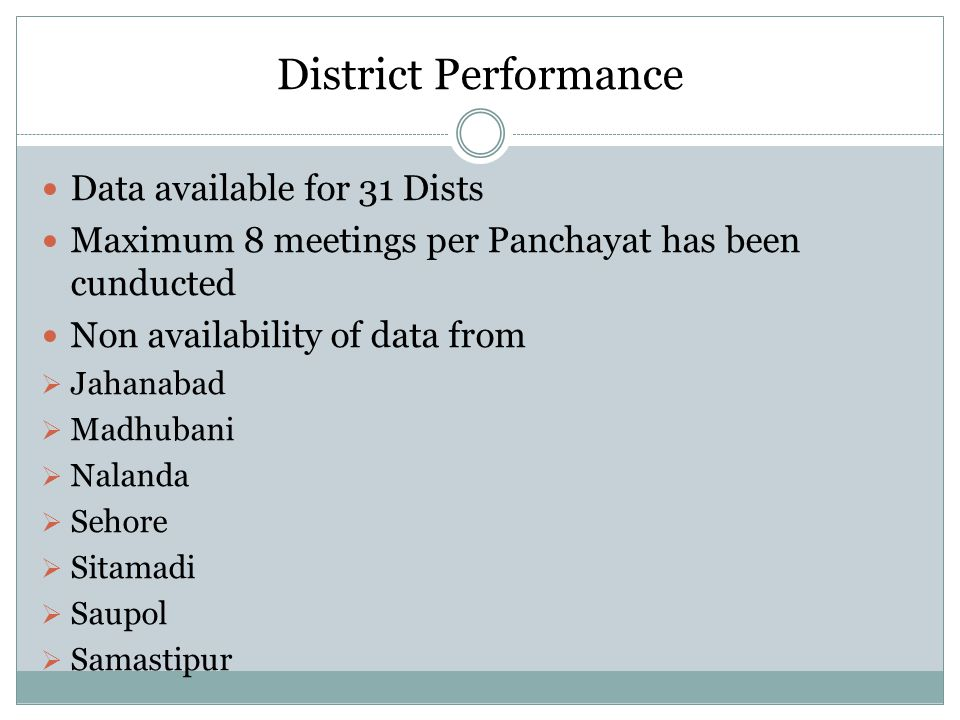 District Performance Data available for 31 Dists
