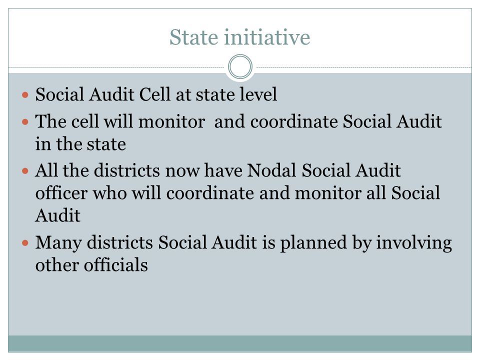 State initiative Social Audit Cell at state level