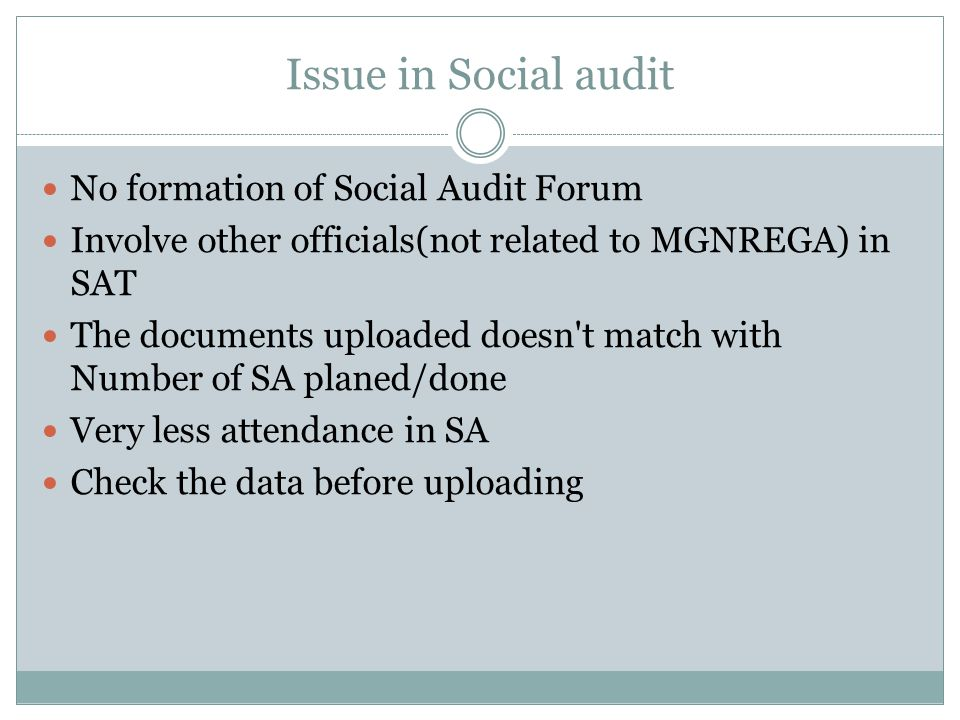 Issue in Social audit No formation of Social Audit Forum