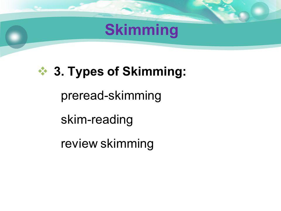 Skimming 3. Types of Skimming: preread-skimming skim-reading review skimming