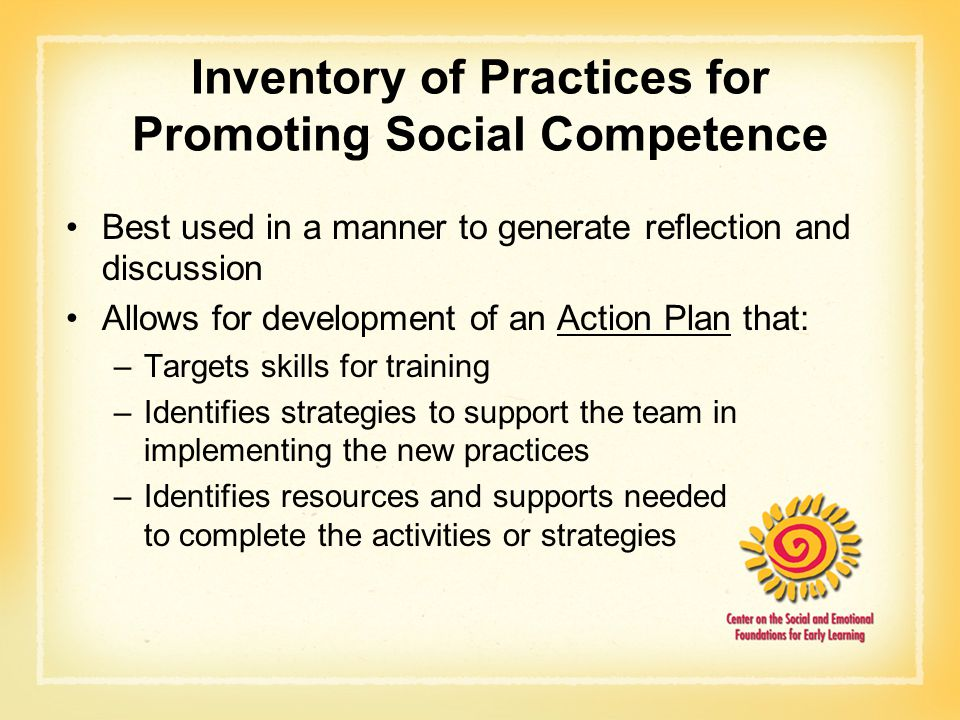 Inventory of Practices for Promoting Social Competence