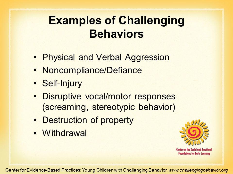 Examples of Challenging Behaviors