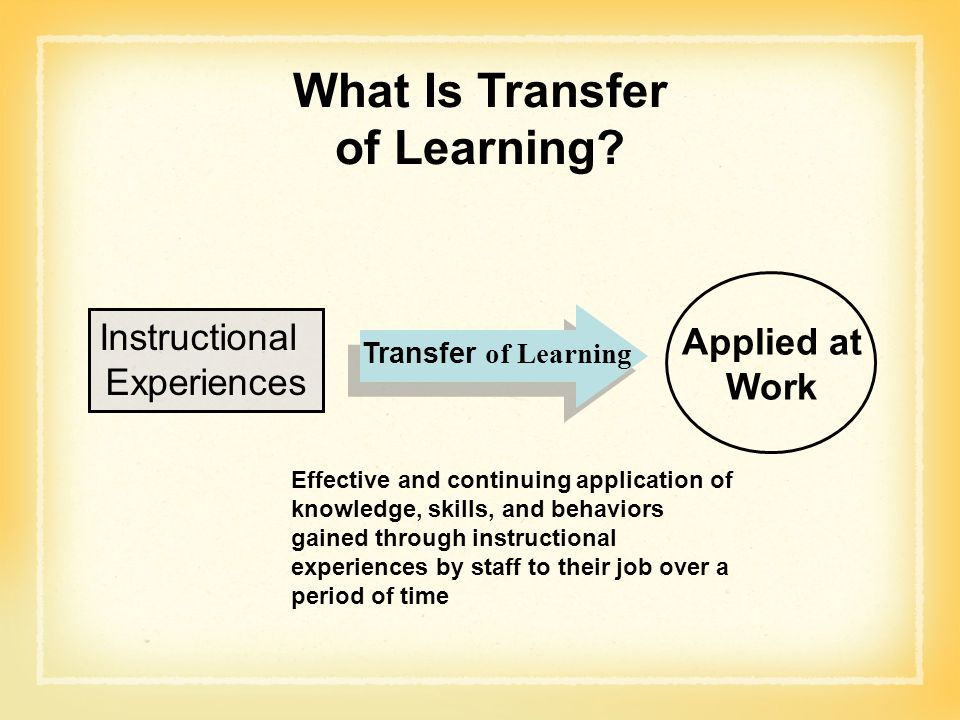 What Is Transfer of Learning