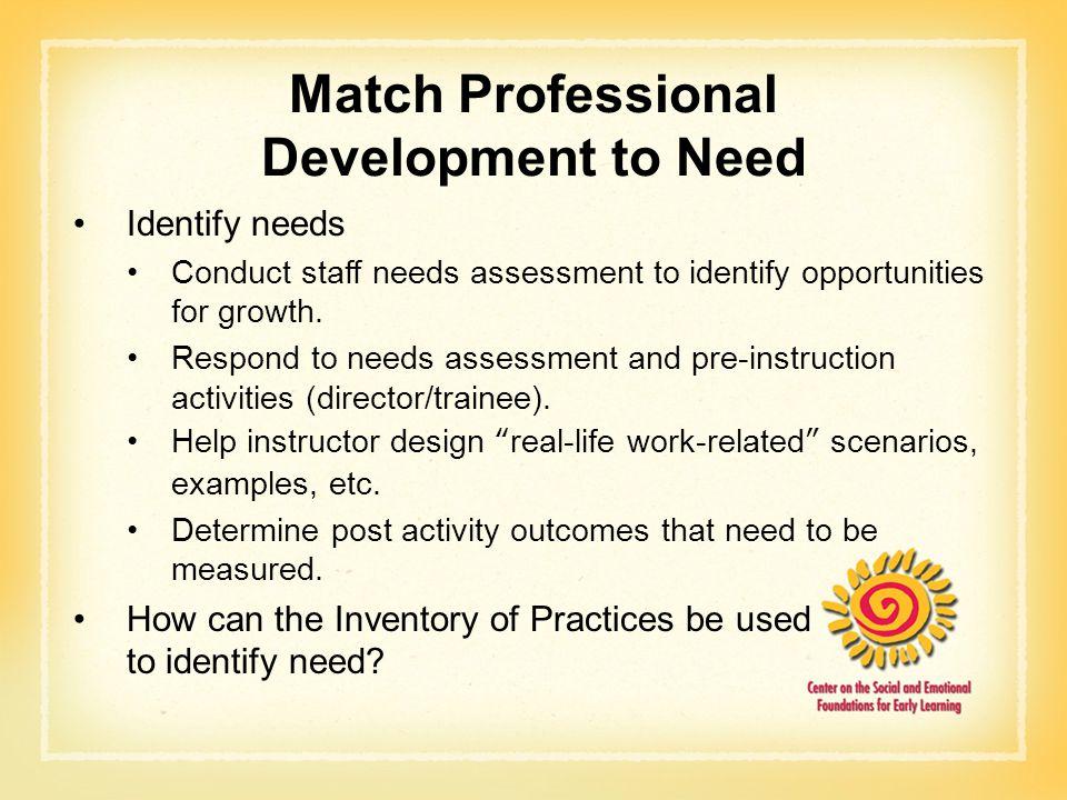 Match Professional Development to Need