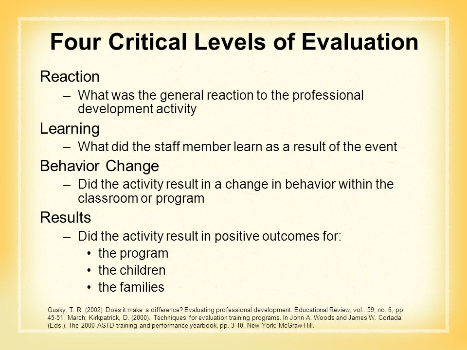 Four Critical Levels of Evaluation