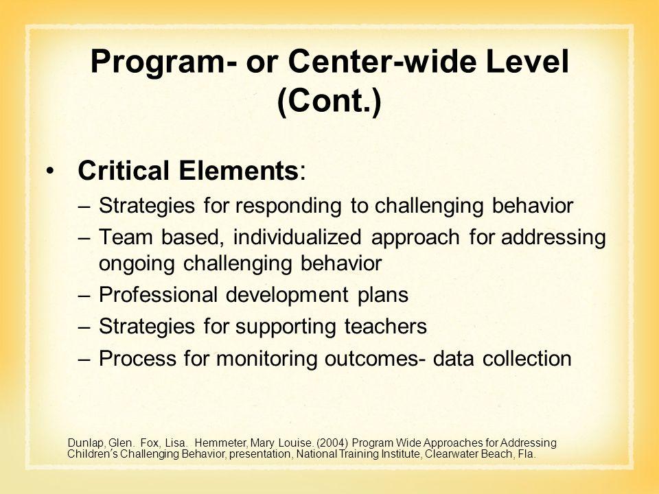 Program- or Center-wide Level (Cont.)