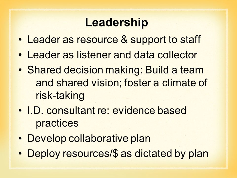 Leadership Leader as resource & support to staff