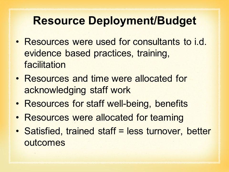 Resource Deployment/Budget