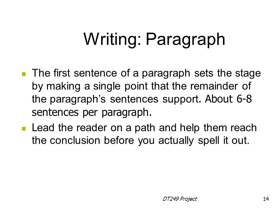 Writing: Paragraph