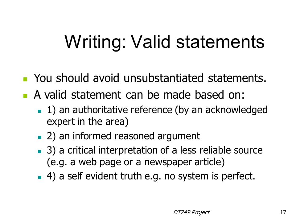 Writing: Valid statements