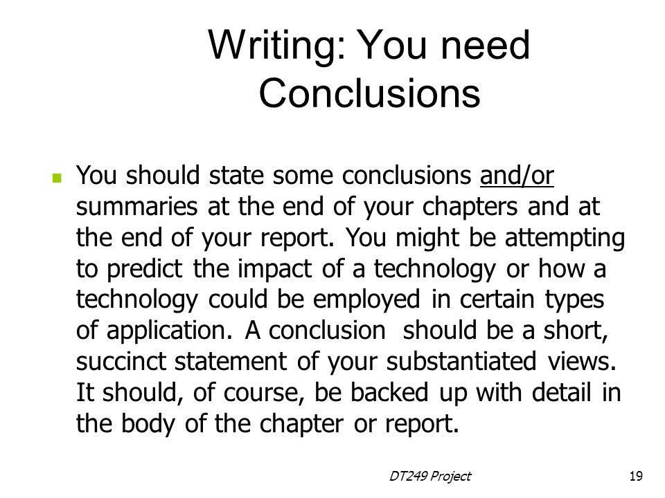 Writing: You need Conclusions