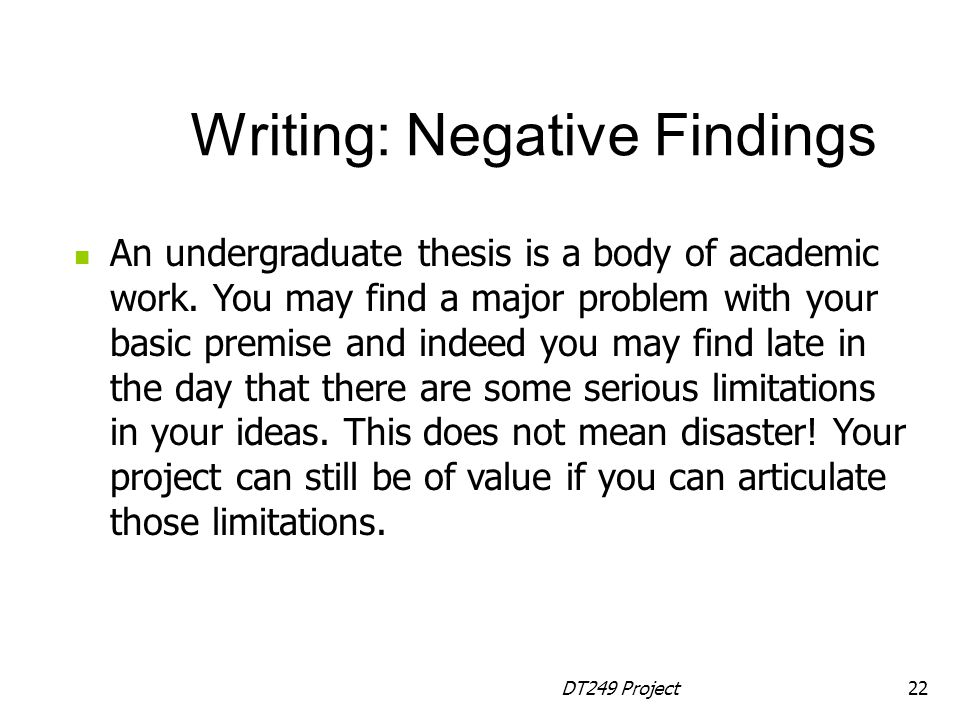 Writing: Negative Findings