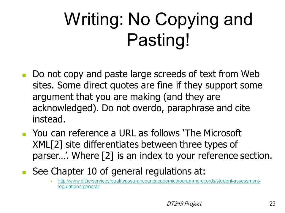 Writing: No Copying and Pasting!