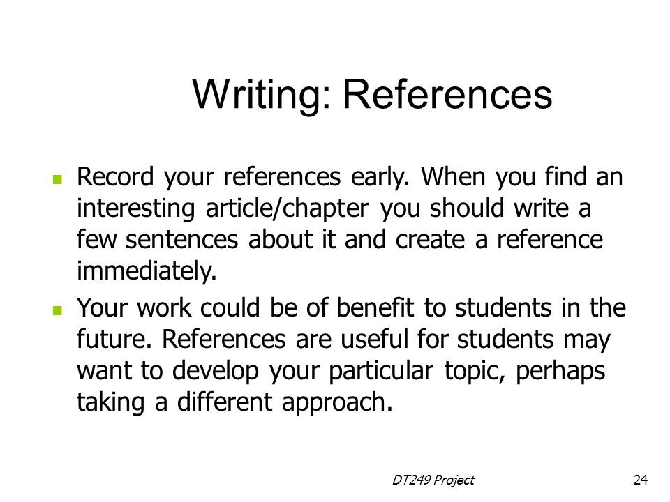 Writing: References