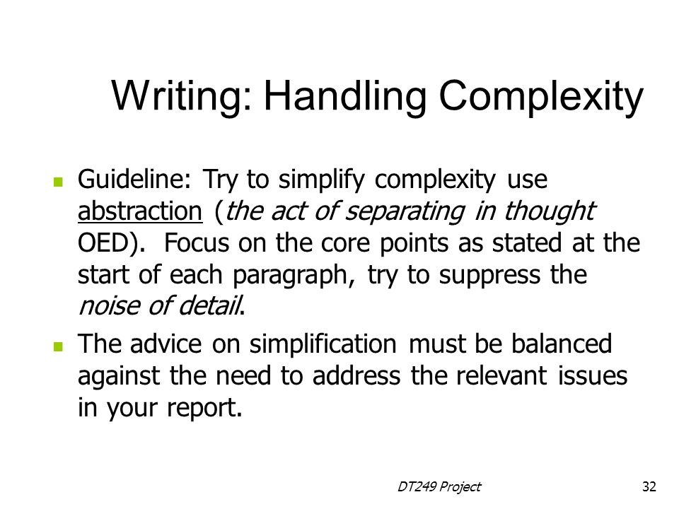 Writing: Handling Complexity