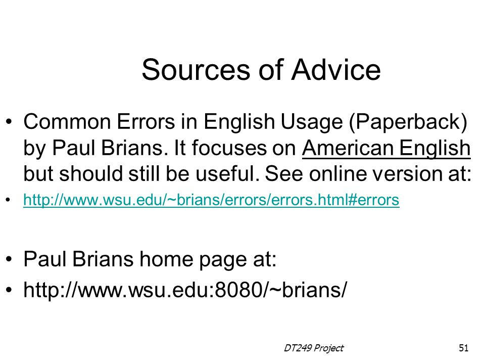 Sources of Advice