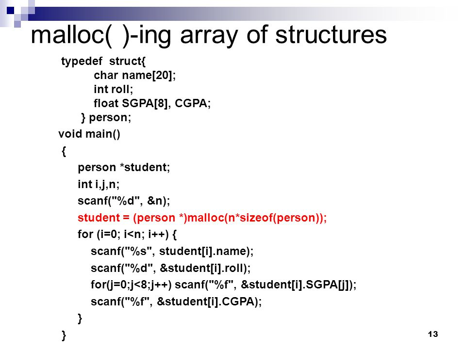 malloc( )-ing array of structures