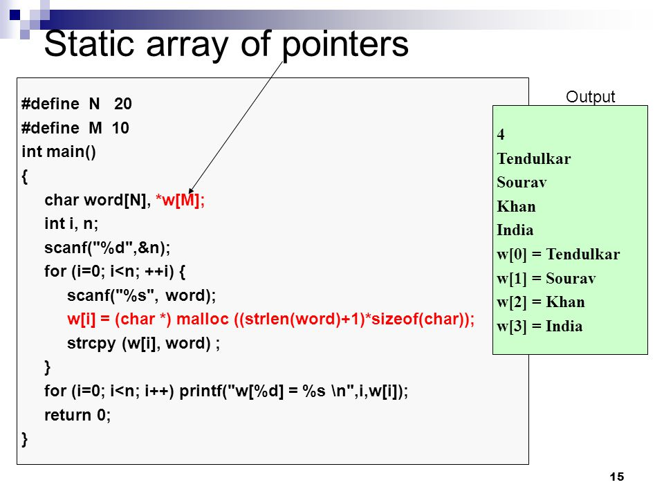 Static array of pointers