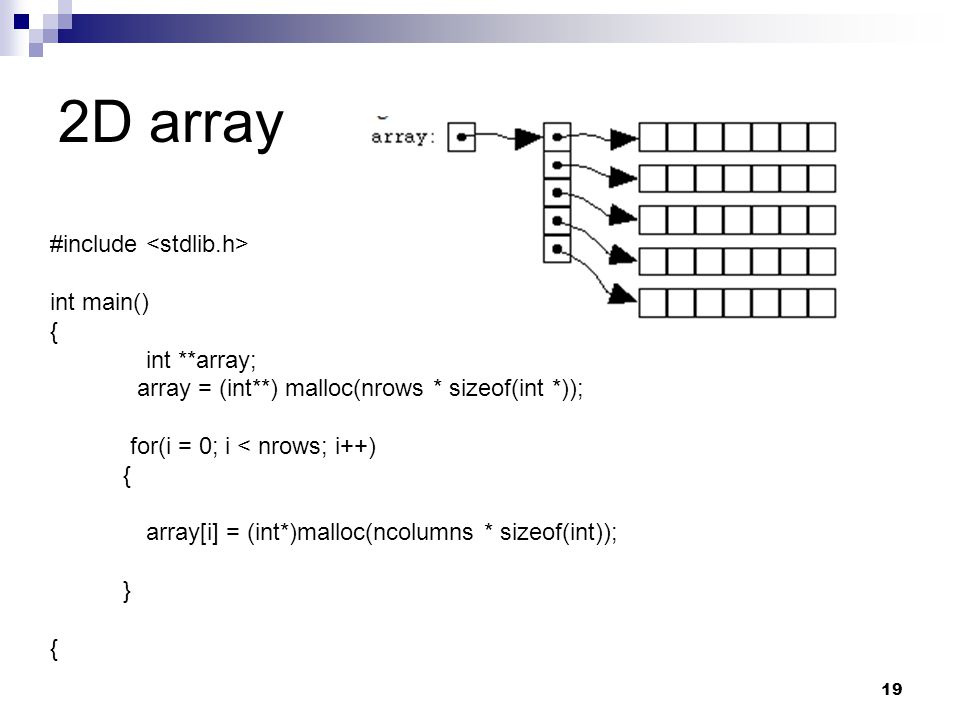 2D array #include <stdlib.h> int main() { int **array;