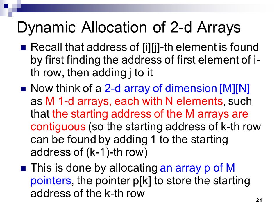 Dynamic Allocation of 2-d Arrays