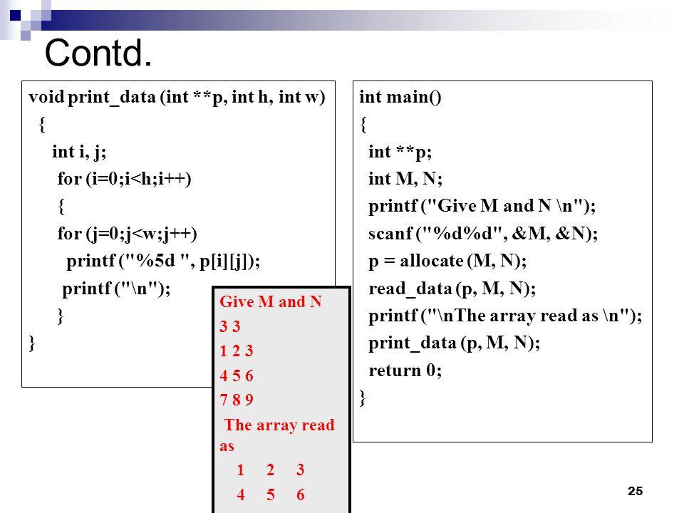 Contd. void print_data (int **p, int h, int w) { int i, j;
