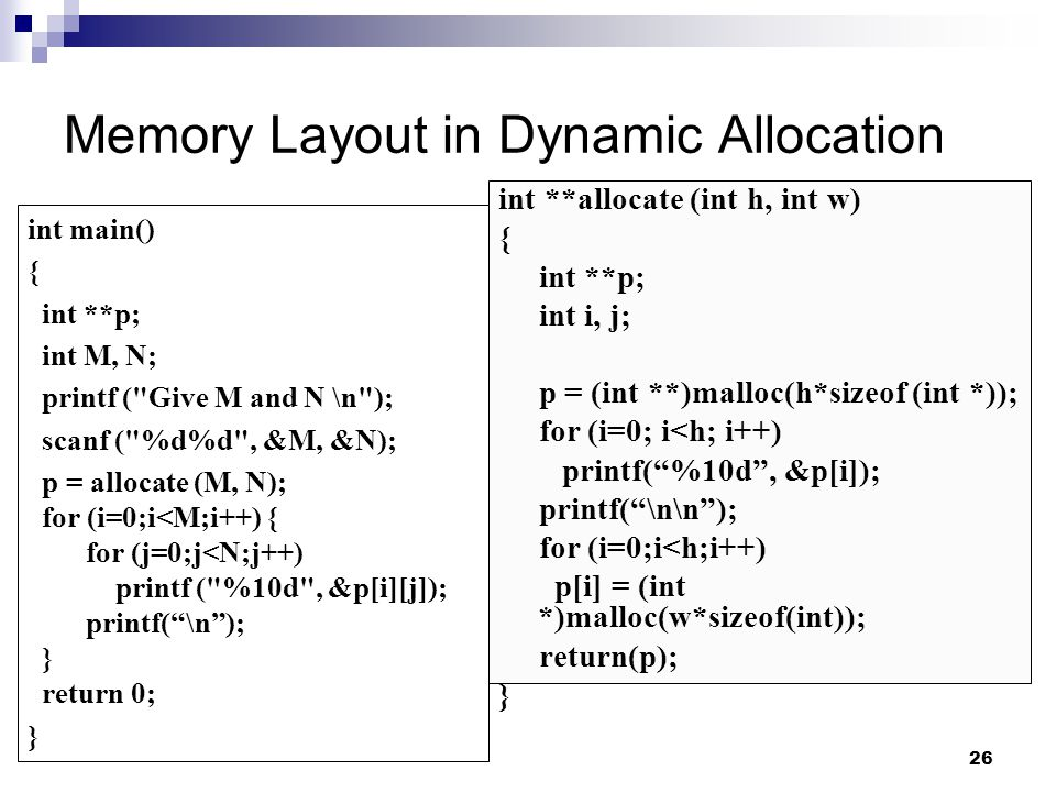 Memory Layout in Dynamic Allocation