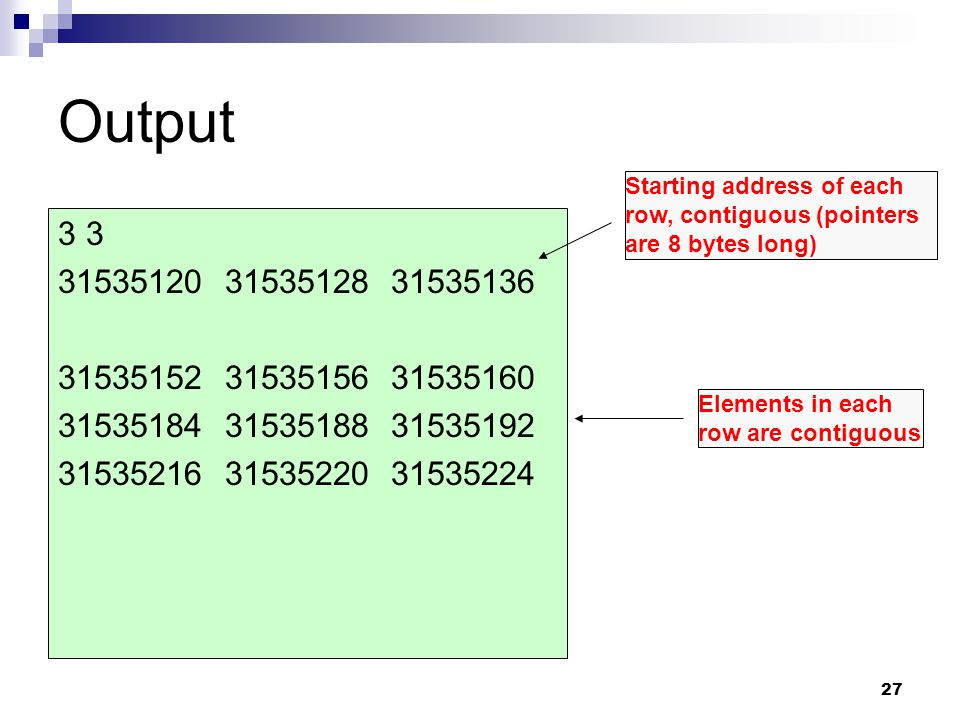Output Starting address of each row, contiguous (pointers are 8 bytes long) 3 3. 31535120 31535128 31535136.