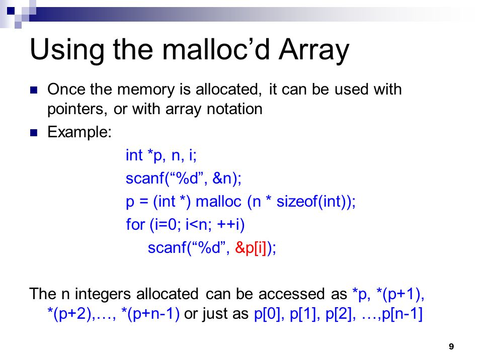 Using the malloc'd Array