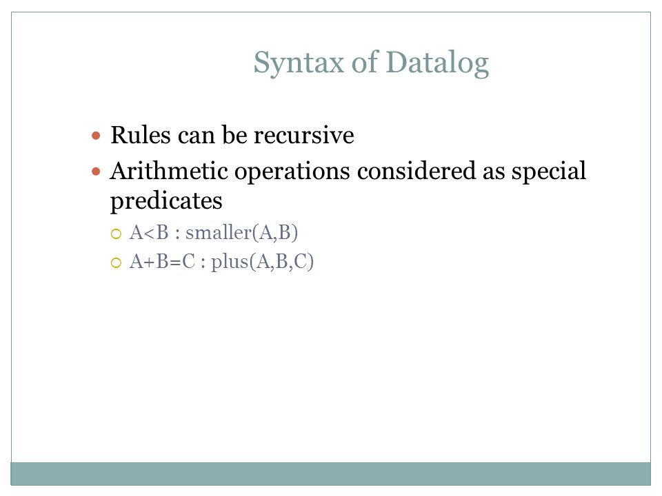 Syntax of Datalog Rules can be recursive